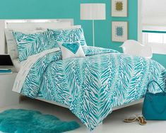 photos of turquoise & lime green rooms | Tranquilizing Teal Bed In A Bag!!!
