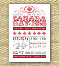 Canada Day BBQ Invitation, Typography Style, Canada Day Party, Red and White, Maple Leaf, Canada Day NOTE: Wicker background is NOT part of the invitation design, but is merely for display purposes. LISTING INCLUDES: - 5x7 invitations, either a PRINTABLE DIGITAL FILE (DIY/You