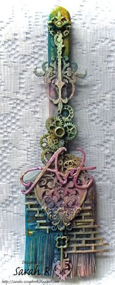 Scattered Pictures and Memories: Mixed Media Altered Paint Brush ~ Creative Embellishments