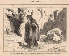 17 Janvier : Saint Antoine, Abbé, Premier Père des Solitaires d'Égypte (251-356) Anthony The Great, Saints, Christian Art, Byzantine, San Antonio, Mystic, Westerns, Traditional, Black And White