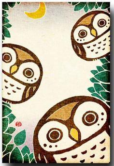 Japanese style Owl postcard - Shirotae