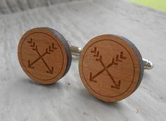 Wood Arrow Cufflinks. Wedding, Men's, Groomsmen Gift, Dad. Silver Plated. Custom Orders Welcome. by TreeTownPaper on Etsy