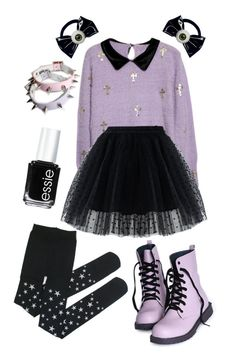 """pastel goth"" by fairy-chan ❤ liked on Polyvore featuring Chicwish, Kreepsville 666 and Essie"