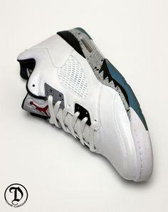"""Air Jordan 5 Low """"White Cement"""" Custom"""