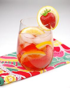 Rosé sangria with limoncello   Ingredients: •1 bottle rosé wine•1/2 cup limoncello •1/4 cup brandy•1/2 cup lemon-lime soda•1 tablespoon lemon juice•1 cup sliced strawberries•8 lemon slices, halved