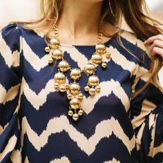 Hazel & Olive / Navy Chevron Wave Dress / Gold Bubble Necklace / Free Shipping