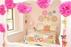 """Pretty Bedroom - pale pink walls, colorful quilt, embroidery hoop """"art"""""""
