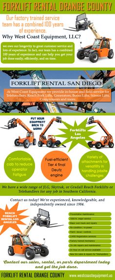 Browse this site http://westcoastequipment.us/reach-forklift-rentals/ for more information on Forklift Rental Orange County. A Forklift Rental Orange County can be a very helpful solution during instances when there is a particularly high workload or during times when temporary projects would have to be completed. Forklifts can be leased for any duration of time, and sometimes even up to many years. Follow us http://www.aboutus.org/ReachForkliftRentalLosAngeles