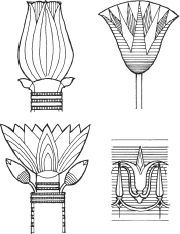 (top right) Ancient Egyptian stylized lotus flower. (bottom right) Ancient Greek lotus ornament consisting of stylized flower and buds Lotus Kunst, Lotus Art, Motifs Art Nouveau, Motif Art Deco, Lotus Bleu, Blue Lotus, Egyptian Drawings, Egyptian Art, Ancient Egypt Art