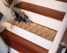 Reface ugly carpeted stairs with prefab HW treads/risers