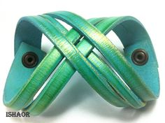 Turquoise - Green and Gold Leather Cuff Bracelet for men and women, Twisted colored wristband by Ishaor on Etsy, $33.83 CAD