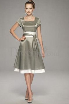 Comes in white too.  Or maybe bridesmaids    Modest Tea-Length Colored Satin Prom Dress