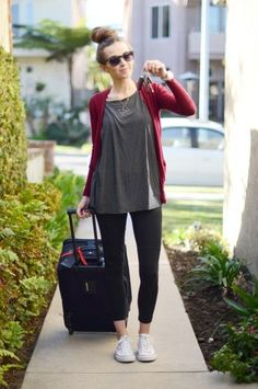 Pair your leggings with tall leather boots and layer with cargo and animal print for a travel-ready look.