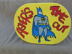 Batman time out wood stool hand drawn and hand painted www.facebook.com/andbabymakesthreee  and can do any theme or design