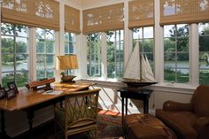 Pretty sure I could be productive with a view like this Sunroom Office, Office Walls, Home Office, Window Coverings, Window Treatments, Small Tables, Dream Rooms, Cool Rooms, Cool Walls