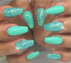 """If you're unfamiliar with nail trends and you hear the words """"coffin nails,"""" what comes to mind? It's not nails with coffins drawn on them. It's long nails with a square tip, and the look has. Mint Green Nails, Teal Nails, Fancy Nails, Trendy Nails, Turquoise Acrylic Nails, Tiffany Blue Nails, Glitter Nails, Tiffany Green, Acrylic Colors"""