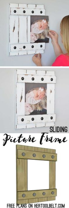 Plans of Woodworking Diy Projects - Change out your photo prints super easy with a sliding farmhouse style frame. Make these cute frames out of wood with free plans Get A Lifetime Of Project Ideas & Inspiration! Wood Projects For Beginners, Diy Wood Projects, Wood Crafts, Lathe Projects, Cute Frames, Picture Frames, Easy Woodworking Projects, Woodworking Plans, Popular Woodworking