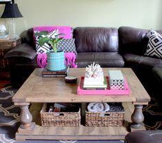 IHeart Organizing: UHeart Organizing: DIY Coffee Table Tray