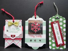 Three Christmas tags designed by Lynn Gauthier using Stampin' Up Oh What Fun Tag Project Kit in the 2015 Stampin' Up Holiday Cat.  I used some extra pieces and some negative pieces from the kit to make these tags.