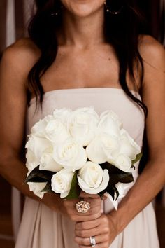 white roses wedding bouquet   @Andrea Mickelson - maybe this size?