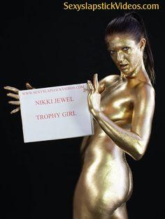 Golden covered Nikki Jewel wam fetish sex girl