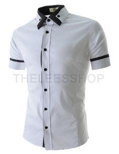 (EVSS37-WHITE) Slim Fit Stretchy Stripe Patched Short Sleeve Shirts