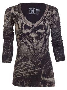 Xtreme Couture AFFLICTION Women LS T-Shirt KILLER Tattoo Biker Sinful S-XL $58 a #Affliction #GraphicTee