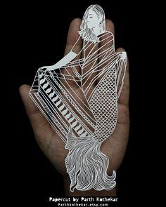 Papercut - Craft - Papercutting - Paper - Mermaid by ParthKothekar.deviantart.com on @DeviantArt