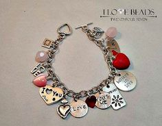 love heart charm bracelet-stainless steel charm bracelet-heart charm bracelet- I love you charm bracelet-love bracelet-gift for loved