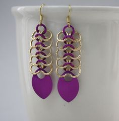 Gold and Violet European Mesh Chainmaille Earrings with Scales, via Etsy.