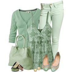 Green and Mint 2 - love the idea of a single color in different tones