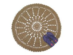This Is A Large Round Accent Rug Crocheted With Sustainable Jute Fiber It Resembles