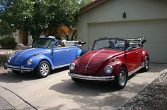 His and Hers VW Convertible Beetles - Maybe this will be my driveway in heaven.