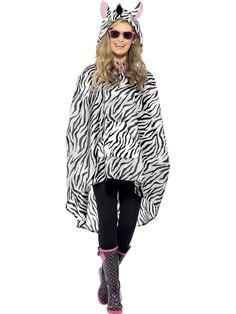 Shower resistant Zebra Party Poncho comes with a Drawstring Bag and Tag Card. The Zebra Party Poncho will be great to wear at festivals; Zebra Party, Safari Party, Party Mode, Hooded Poncho, Costume Collection, Unisex, Costume Dress, Costumes For Women, Funny Costumes