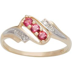 CHROMA 10k Yellow Gold Round-cut 3-stone Birthstone Ring (Size 8, white topaz), Women's