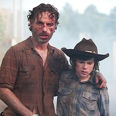 """The Walking Dead Review: """"Too Far Gone"""" (Episode 4.08) Left Andrew Lincoln (Rick Grimes) with Chandler Riggs (Carl Grimes) season 4 mid season finale, aired Dec 1, 2013 #TheWalkingDead"""