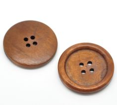 20PCs Reddish Brown Natural Wooden Buttons Scrapbooking Sewing Accessories For Craft  for Sweater Overcoat Clothing 35mm B19496