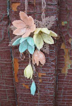 Beaded pendant light spring blossom OOAK by Elinawonderland