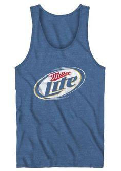 Miller Lite Beer Adult Heather Navy Tank Top:Amazon:Clothing