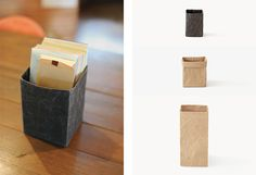 Box - Soft Naoron - Colors : Brown, Black - (9 × 9 : H130 × W90 × D90 mm - 14€) - (13 x 13 : H180 × W130 × D130 mm -17€ ), ( Small : H350 × W170 × D170 mm. 31€ ), Colors : Brown, Black