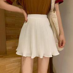 Pleated Mini Skirt, Chiffon Skirt, Mini Skirts, Bikini Dress, Cheap Skirts, College Fashion, Slim Waist, Short Outfits, Kpop Outfits