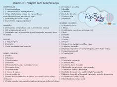 Check List para Viajar com Bebê e Criança | TripBaby Journal, Words, Travel, Aurora, Alice, Disney, Road Trip Organization, Suitcases, Kids Checklist