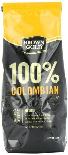 Brown Gold 100% Colombian Coffee, 12-ounce bag - http://teacoffeestore.com/brown-gold-100-colombian-coffee-12-ounce-bag/