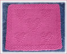 Free Knitting Pattern - Dishclothes Washcloths : Valentine Dishcloth this site has all kinds of patterns. Knitted Dishcloth Patterns Free, Knitting Squares, Knitted Washcloths, Crochet Dishcloths, Baby Knitting Patterns, Loom Knitting, Knitting Stitches, Free Knitting, Crochet Patterns