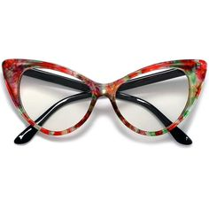 Colorful Ombre Super Cateyes Vintage Inspired Fashion Mod Chic High Pointed Clear Lens Eye Wear Glasses – Famous Last Words Funky Glasses, Cute Glasses, Glasses Frames, Fashion Eye Glasses, Cat Eye Glasses, Round Lens Sunglasses, Vintage Inspired Fashion, Vintage Fashion, Vintage Style