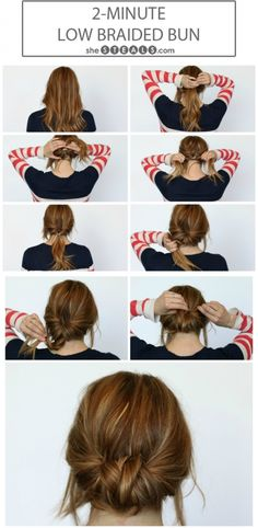 9. #Low-Braided Bun - 17 Gorgeous #Hairstyles for Lazy Girls ... → Hair #Hacks
