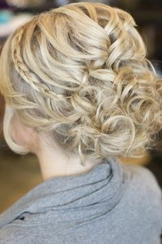 Possible bridesmaid hairdo for December? A Curly Updo With a Thin Braided Band. Adorning your classic curled updo with a thin braid adds a glamorous touch. Curly Hair Braids, Short Hair Updo, Wedding Hairstyles For Long Hair, Wedding Hair And Makeup, Curly Hair Styles, Hair Makeup, Prom Hairstyles, Updos With Braids, Curled Updo Hairstyles