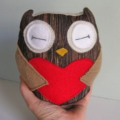 Tiny Wee Hoot Owl - Redwood Lovers - Eco Friendly Kids Plush Doll with Secret Pocket by buttercupbloom via Etsy
