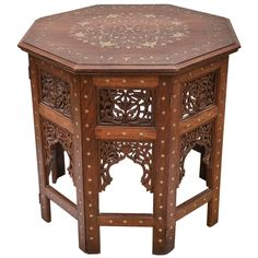 Large Octagonal Indian Teak with Brass Inlay Occasional Table 1 Table Furniture, Cool Furniture, Table 19, Elegant Living Room, Modern Side Table, Vintage Table, Side Tables, Teak, Brass