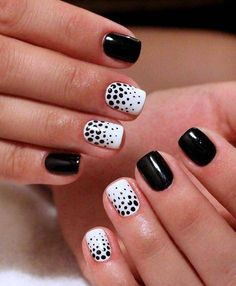 Accurate nails, Beautiful autumn nails, Beautiful evening nails, Beautiful nails 2016, Black and white nail ideas, Black dress nails, Contrast nails, Evening dress nails